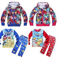 Winter Kids Boy Girl Pokemon Pikachu Hooded Warm Coat Jacket Clothes Outfits Set