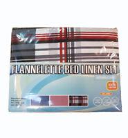 Double Bed Flannelette Linen Set Pillowcases Duvet Cover and Flat Sheet Bedding