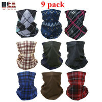 (Pack of 9) Plaid Face Mask Sun Shields Neck Gaiter Balaclava Bandana Headband