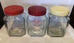 3 Depression Glass Storage Jars Embossed with 'X' Reg Design Numbers 1 Litre