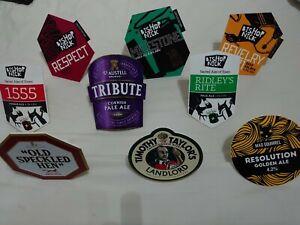 bundle of 9 x beer/ale clips for pub/bar mancave bishop nick/old speckled hen