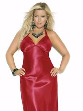 Women Plus Long Nightgown 3X Red Charmeuse Satin Halter Lingerie Nightie Sexy