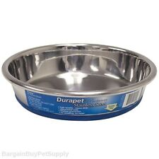 Our Pets Durapet Premium Rubber-Bonded Low Side Stainless Steel Cat Dish Bowl