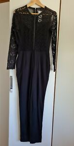 French Connection Black stretch lace detail bodycon playsuit catsuit NEW Size 10