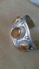 Artisan Crafted Tibet Silver Tiger's Eye Large Cuff Unisex Bracelet Adjustable
