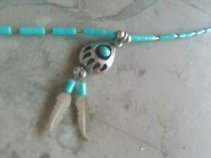 Indianerschmuck tuerkis Halskette silber