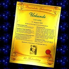 Urkunde zum Geburtstag -GOLD Geschenk 18 20 30 40 50 60 70 80 Geburtstagsurkunde