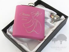 Personalised Engraved 6oz pink Hip Flask.bridesmaid gift Box phf45