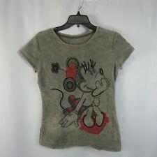 Disneyland  Minnie Mouse Womens Medium Gray T-Shirt Embellished