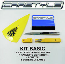 """KIT """"BASIC"""" OUTILLAGE POSE ADHESIFS ET FILM TEINT- COVERING 2 RACLETTES- CUTTER"""