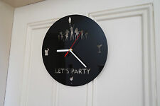 Let's party design wall clock, made from black plexiglass [K-1 ]