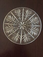 """6 Vintage Snowflake Winter Holiday Round 7 1/4"""" Textured Glass Serving Plates."""