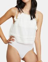 Free People Womens Top White Size Large L Trust Me Thong Bodysuit $68 626