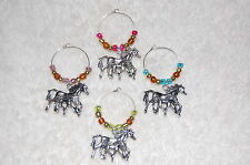 4 Horse Wine Glass Charms - Equestrian, mustang, pony!