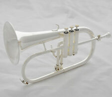 Professional Silver plated Bb flugelhorn Monel valve brand new horn with case