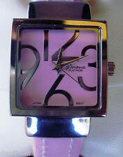 Geneva Platinum, Reloj de mujer, correa de acero flexible cubierta de cuero rosa
