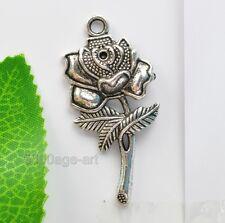 Flowers Charms Pendants 46X22mm A39 Wholesale 5pcs Tibetan Silver Rose