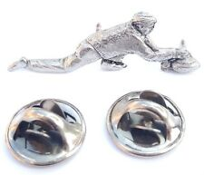 Curler Handcrafted in Solid Pewter In UK Lapel Pin Badge