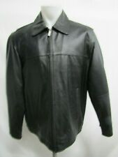 Perry Ellis Portfolio Men's Black Leather Lamb Skin Motorcycle Jacket