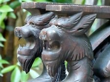 PAIR Carved Wood Griffin Gargoyle Gothic Figures Supports Cabinetry Console 19th