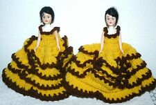 """Vintage lot of two plastic girl doll in yellow and brown crochet dress 9"""""""