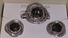 Kims Jeweler Sterling Silver Smoke/Black & White Diamond Spiral Ring&Earring Set