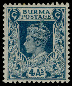 BURMA SG28, 4a greenish-blue, LH MINT.