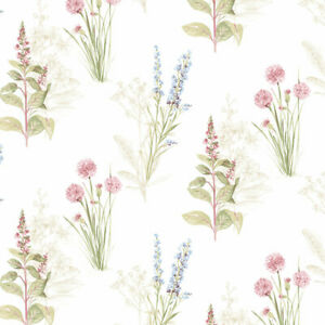 Norwall Wallcoverings AB42445 Abby Rose 3 Flora Wallpaper Cream/Blue/Pink