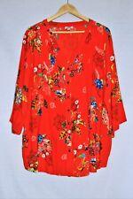 ORIENTIQUE Plus Size 22 Orange Floral 3/4 Sleeve Pleated Light Cotton Tunic Top