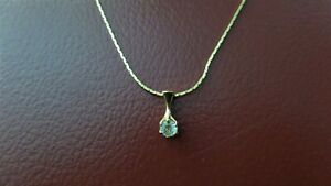 Gold Tone Chain Necklace with Cubic Zirconia Pendant