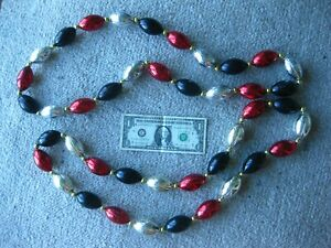 FOOTBALL BEADS BLACK RED SILVER NECKLACES (2) NFL GRONK GASPARILLA HAND STRUNG
