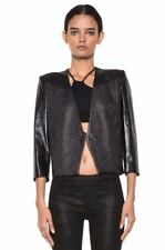 Helmut Lang Shy black solid cotton/linen/leather 3/4 sleeves jacket NWT 0 $795