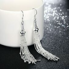 Luxury Women's 925 Sterling Solid Silver Long Tassel Chain Drop Dangle Earrings