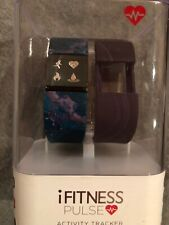 IFitness Women's Pulse Navy Marble Print & Violet Silicone Smartwatch