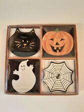 Mww Halloween Mini Plates Ghost, Jack O Lantern, Spider Web and Black Cat