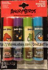 ANGRY BIRDS* 4pc BOTANICALLY ENRICHED Lip Balm Set CHERRY+GRAPE+APPLE+BLUEBERRY