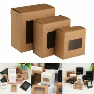 10x Kraft Paper Gift Box Cake Package Clear PVC Window Candy Wrapping Bag Box
