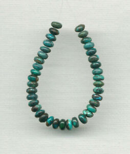 """HUBEI CLOUD MOUNTAIN TURQUOISE 5MM RONDELLE BEADS - 4.25"""" Strand - 9294"""