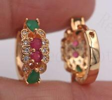 18K Gold Filled Earrings Ruby Zircon Emerald Flower Topaz Ear Hoop Wedding Lady