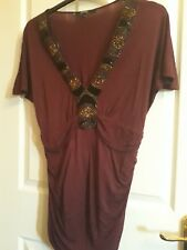 star by Julien Macdonald burgundy beaded top size 16