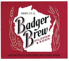 "BADGER BREW BEER  9/"" x 12/"" Sign"