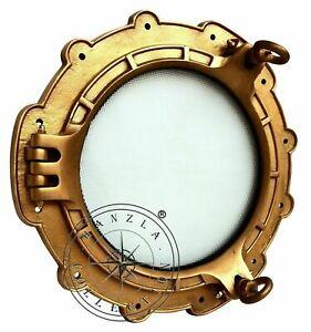 "15"" Antique Brass Maritime Porthole Ship Window Wall Mirror Nautical Cabin Decor"