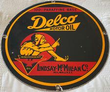 VINTAGE DELCO MOTOR OIL PORCELAIN SIGN, PUMP PLATE, GAS STATION, GASOLINE, FUEL