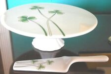 Shamrock Pedestal Cake Plate W/Server New/Old Stock Marcus Notley Ireland