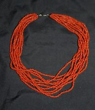 SILPADA - N0875 - 10-Strand Hand Beaded Coral Necklace w/ Barrell Clasp - RET