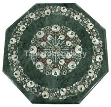 """18"""" Green Marble Top Side Table Mother of Pearl Floral Inlay Living Decors B190"""