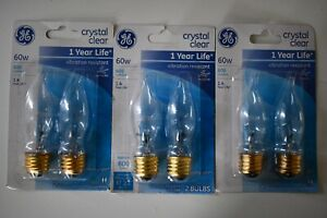 6- GE 60 watts, Candle Shape, Candle Base, Incandescent Crystal Clear CA Type