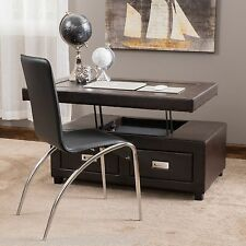 Living Room Brown Leather Convertible Coffee Table Ottoman w/ Drawers