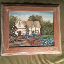 """Nice Original """"Country Cottage"""" Oil On Canvas Painting - Framed And Signed #1"""