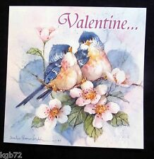 Leanin Tree Valentine Card Valentine's Day Flowers Birds Romance Love V42